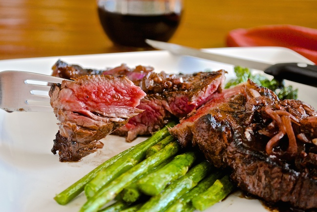 New York Steak with a Balsamic Wine Reduction