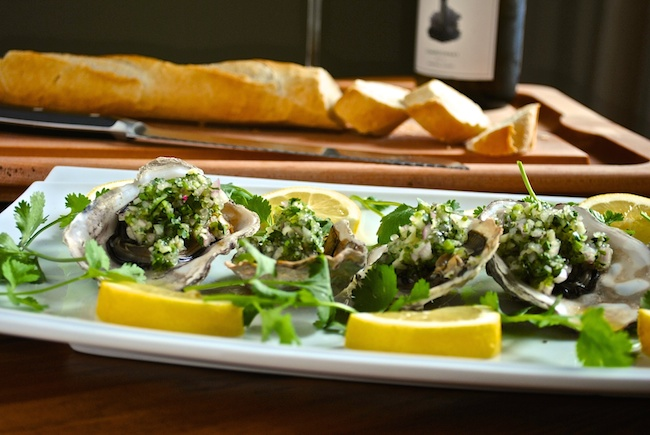 Grilled Oysters with Finger Lime Mignonette