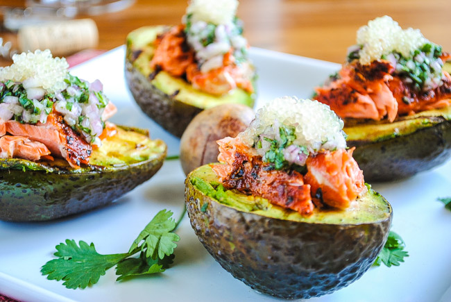 Grilled Avocados with Salmon and Finger Limes