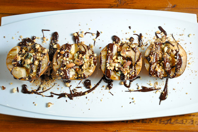 Grilled Pears with Blue Cheese and Chocolate