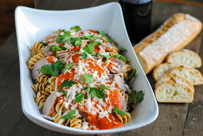 PASTA WITH GRILLED TOMATO SAUCE AND ITALIAN SAUSAGE