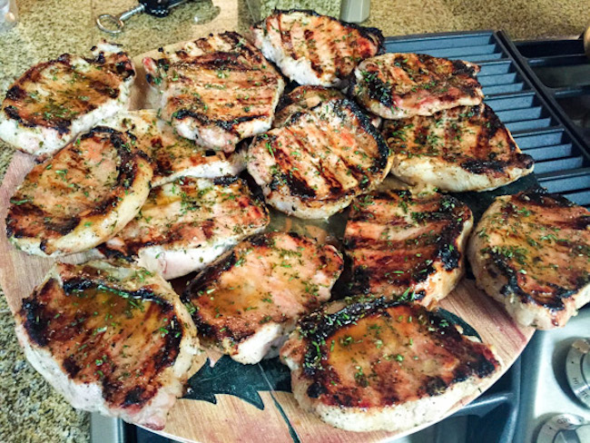 Grilled Pork Chops with Honey Rosemary Glaze